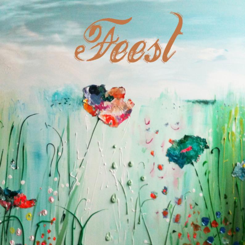 Uitnodigingen - Kleurrijke bloemen met Feest in goud