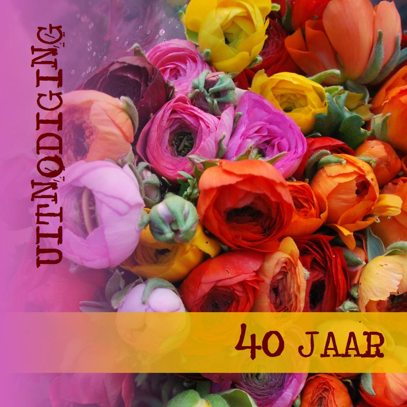 Uitnodigingen - Kleurrijke italiaanse bloemen