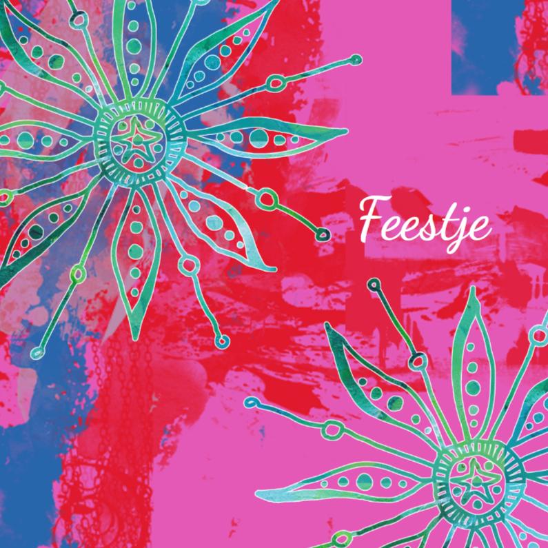 Uitnodigingen - Kleurrijke uitnodiging bloemen
