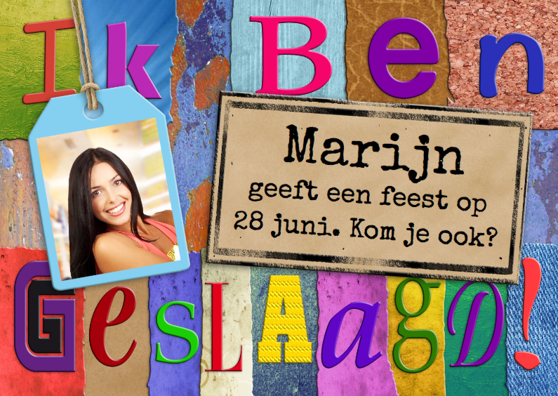 Uitnodigingen - Kleurrijke uitnodiging geslaagd met letters en foto