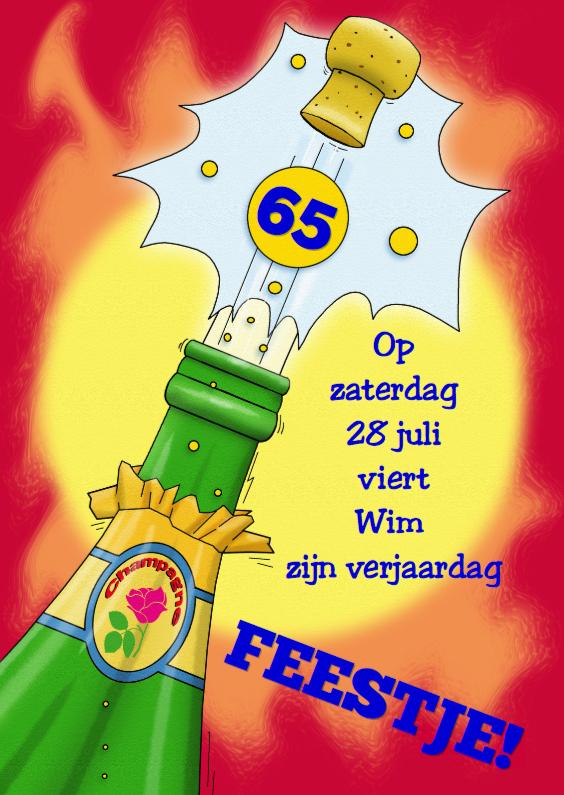 Uitnodigingen - Knalfeest met grafische illustratie van champagnefles