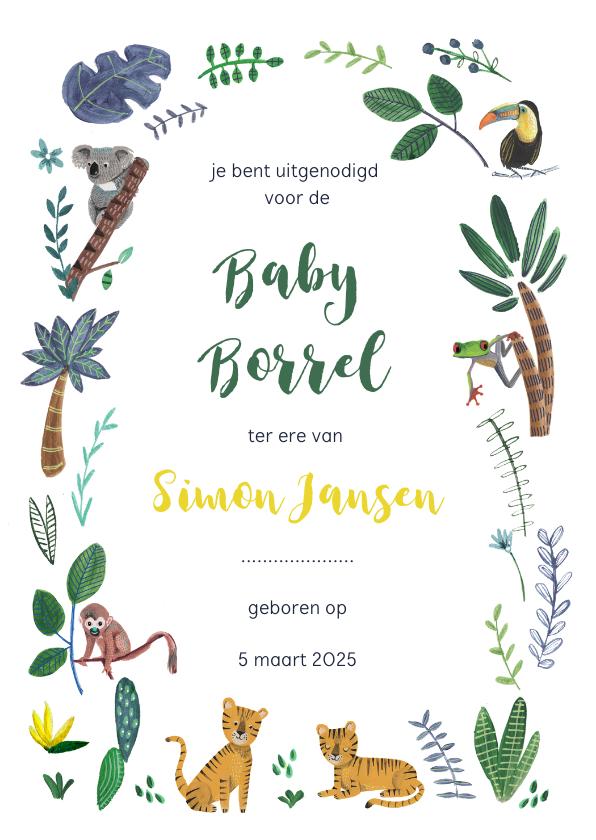 Uitnodigingen - Kraamfeest of Baby Borrel uitnodiging jungle tijgers
