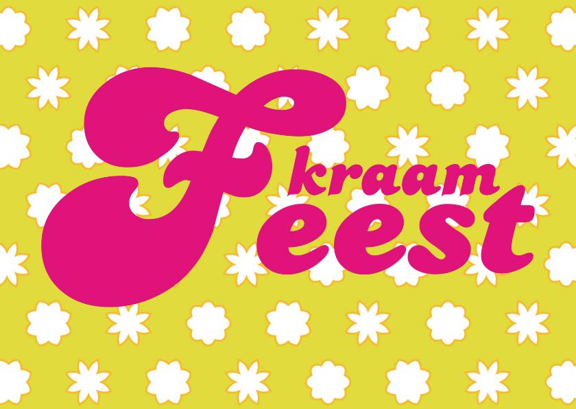 Uitnodigingen - Kraamfeestkaart Bloemetjes meisje
