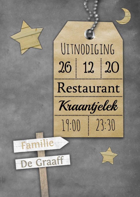Uitnodigingen - krijtbord en naamkaartje a