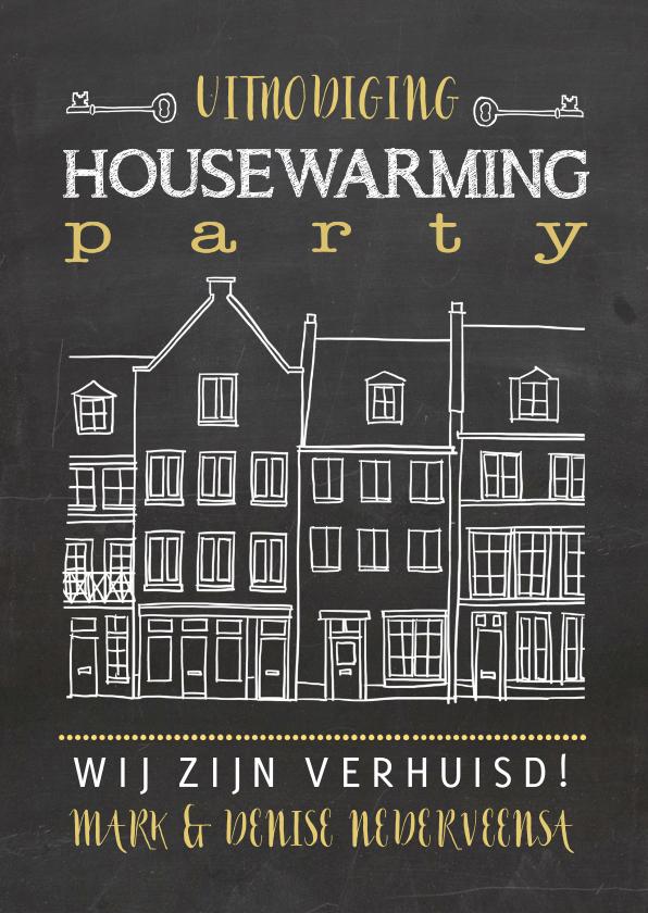 Uitnodigingen - Krijtbord housewarming