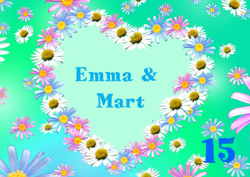 Uitnodigingen - Lente Bloemen Hart met foto