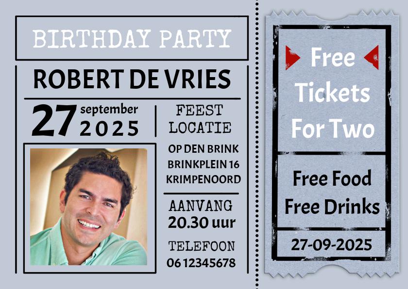 """Uitnodigingen - Leuke uitnodiging """"Free Tickets For Two"""" voor een man"""