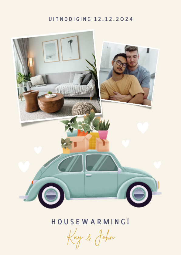 Uitnodigingen - Leuke uitnodiging housewarming verhuisauto foto's & plantjes