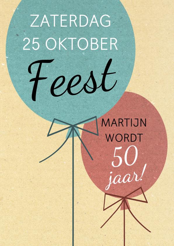 Uitnodigingen - Leuke uitnodiging voor verjaardag met 2 ballonnen