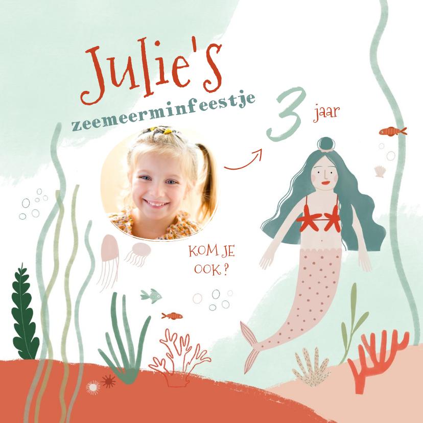 Uitnodigingen - Leuke uitnodiging zeemeermin en foto kinderfeestje