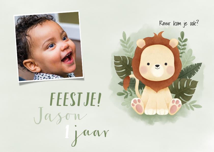 Uitnodigingen - Lieve uitnodiging eerste verjaardag leeuwtje, jungle en foto
