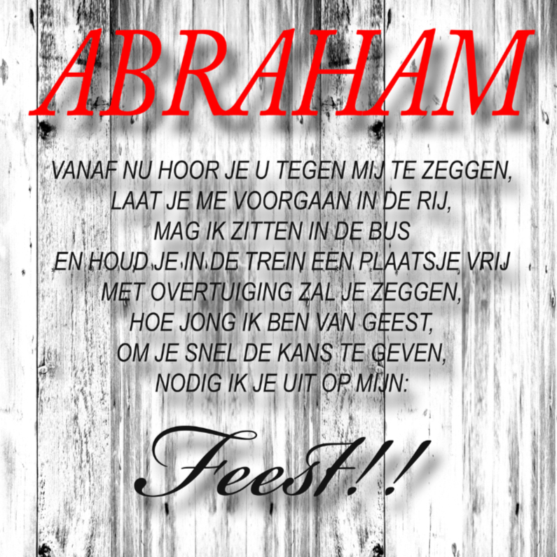 Uitnodigingen - made4you-uitndiging abraham