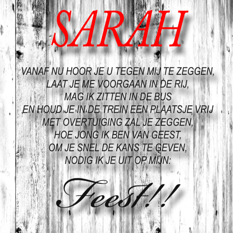 Uitnodigingen - made4you-uitnodiging sarah