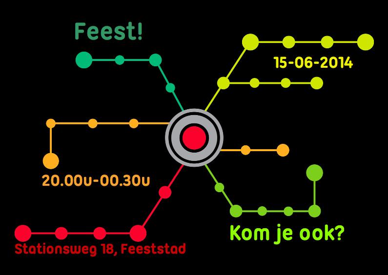 Uitnodigingen - Metrokaart kleur