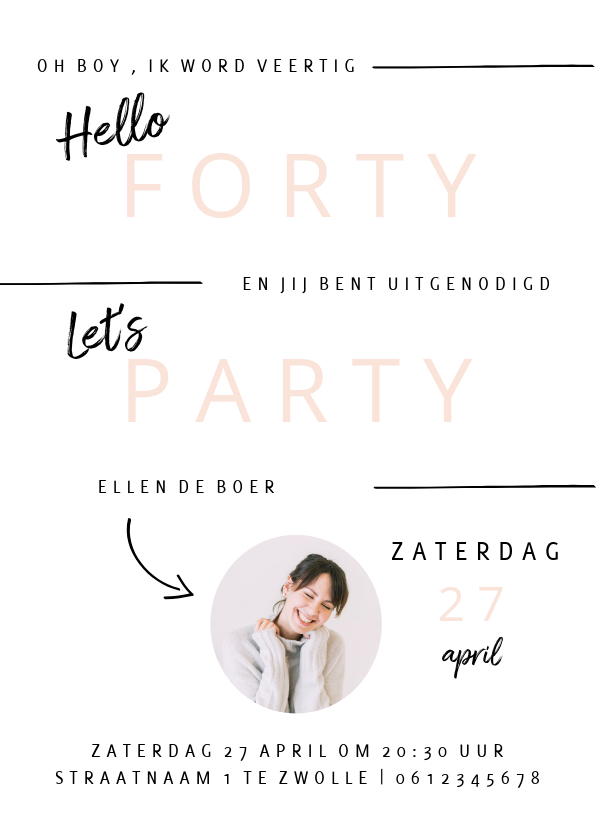 Uitnodigingen - Minimalistische uitnodiging verjaardagsfeest vrouw