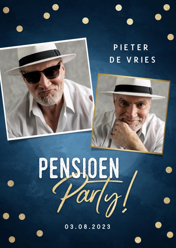 Uitnodigingen - Moderne uitnodiging pensioen party gouden confetti & foto's