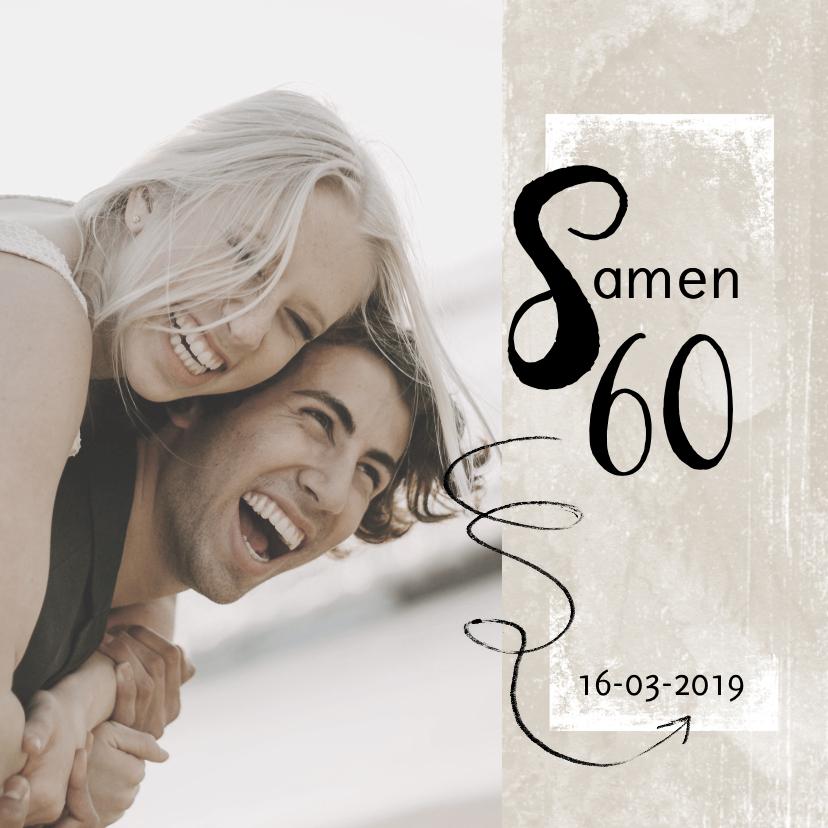 Uitnodigingen - Moderne uitnodiging 'Samen 60!' met foto