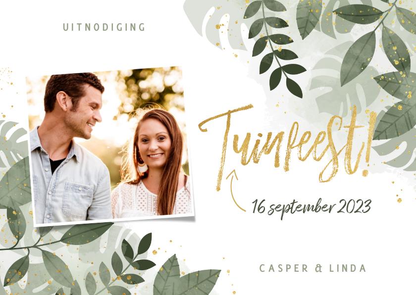 Uitnodigingen - Moderne uitnodiging tuinfeest planten en gouden typografie