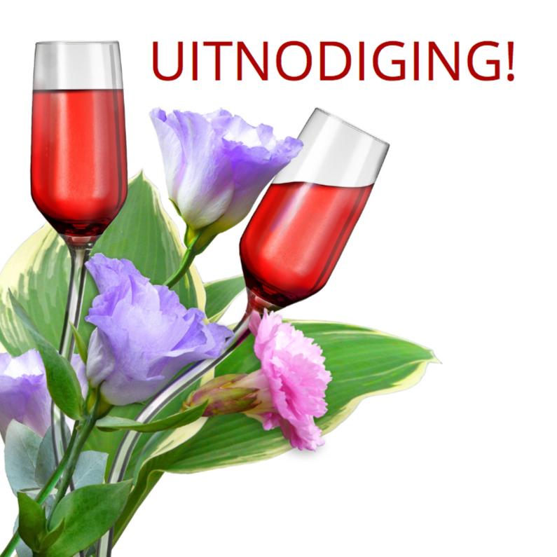 Uitnodigingen - Mooie uitnodiging met gebogen glazen tussen bloemen