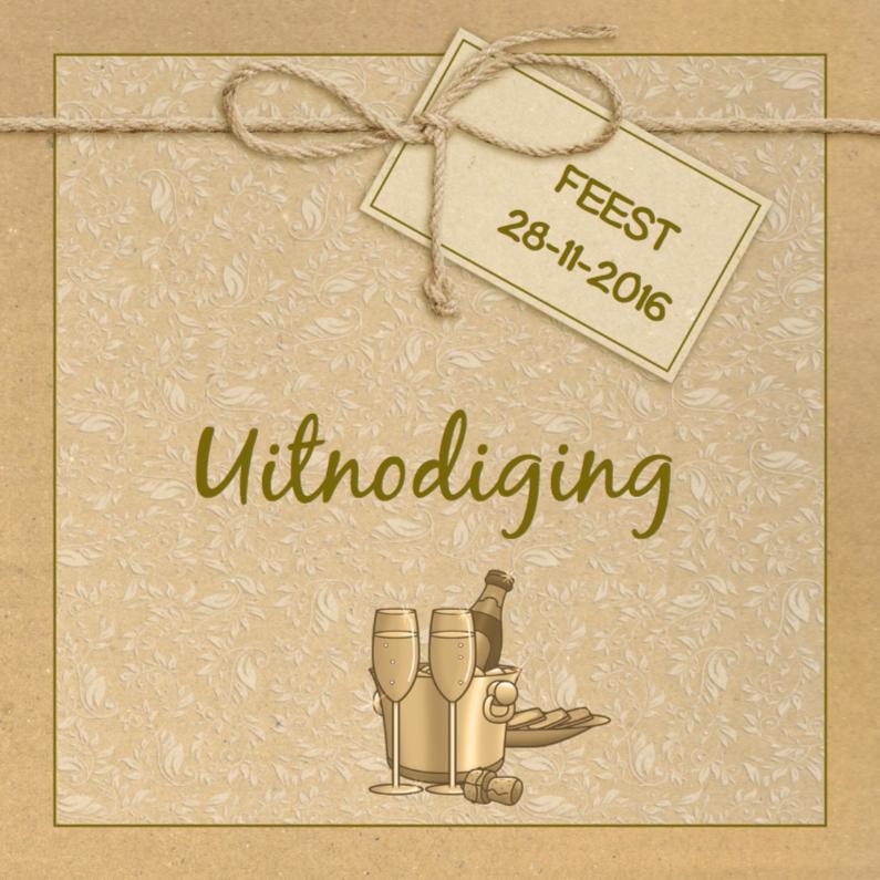 Uitnodigingen - Mooie uitnodiging met label en drankje op karton-print