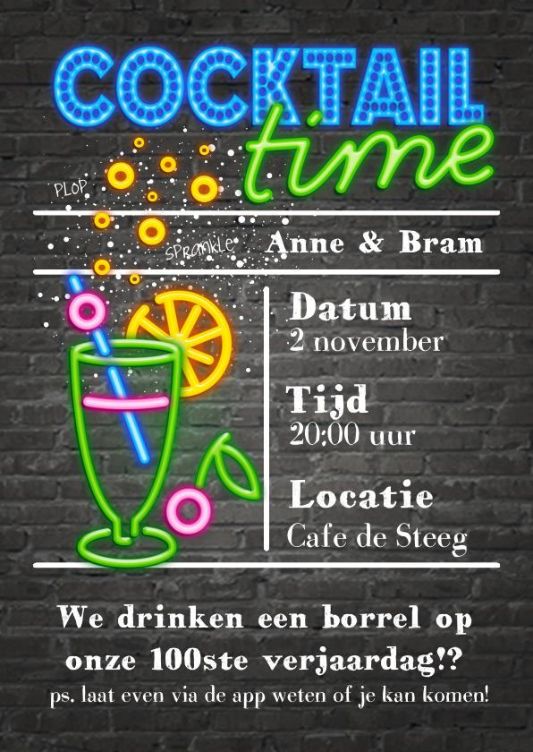 Uitnodigingen - Neon uitnodiging - cocktail time