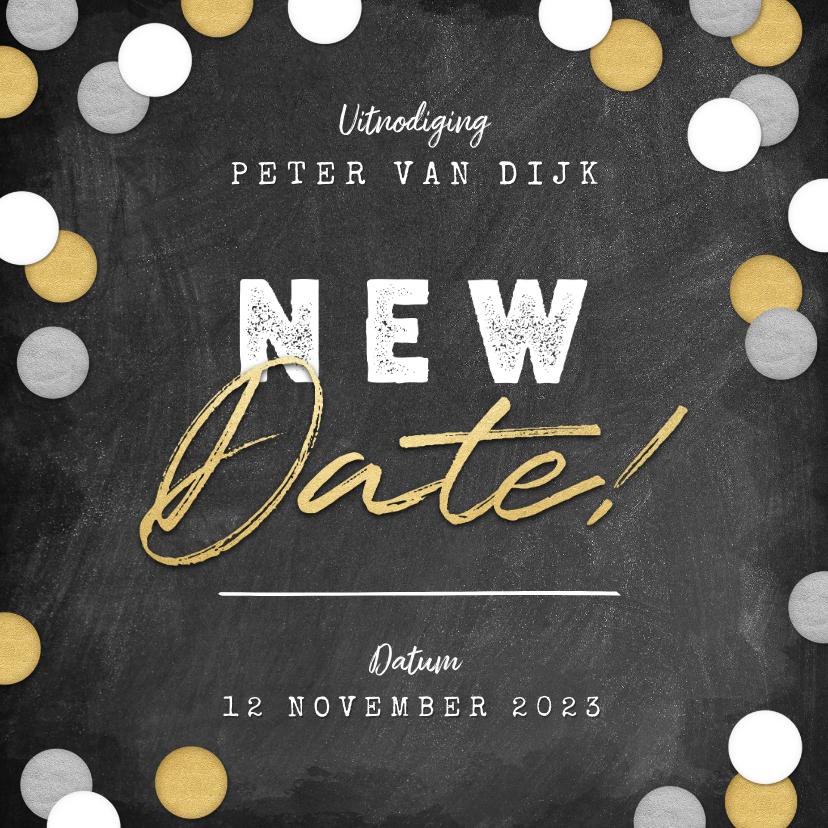 Uitnodigingen - New Date uitnodigingskaart krijtbord en confetti