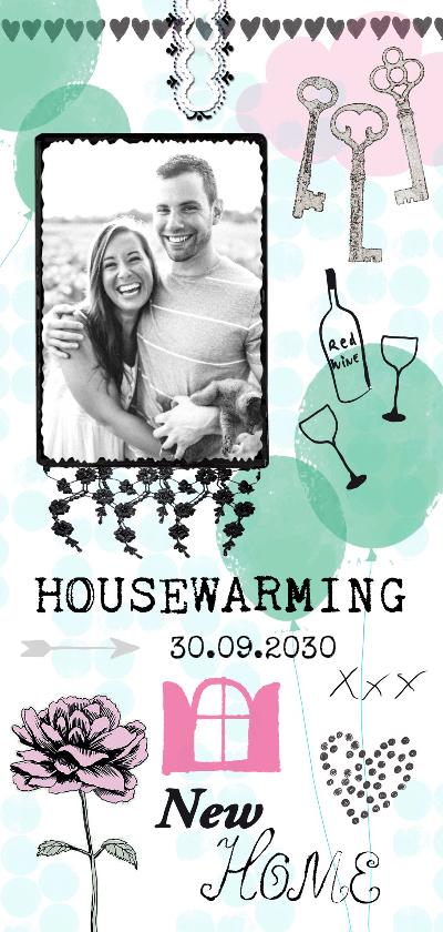 Uitnodigingen - New Home felicitatiekaart met ballonnen, sleutels en foto