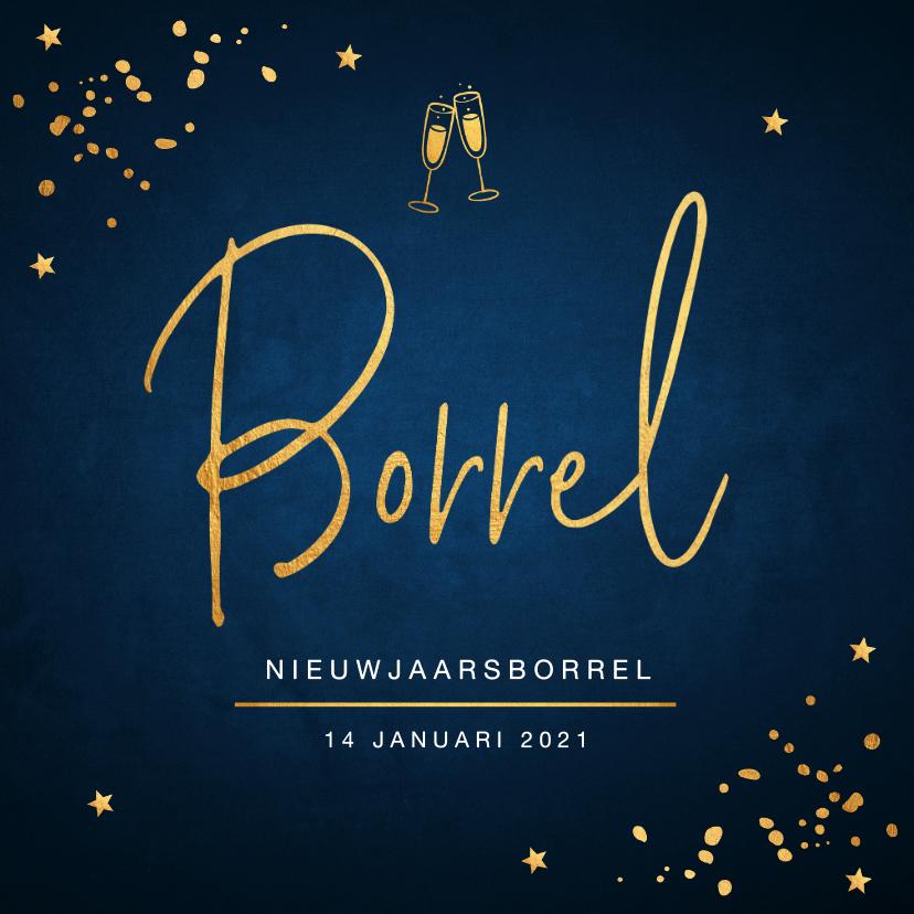 Uitnodigingen - Nieuwjaarsborrel uitnodiging confetti goud
