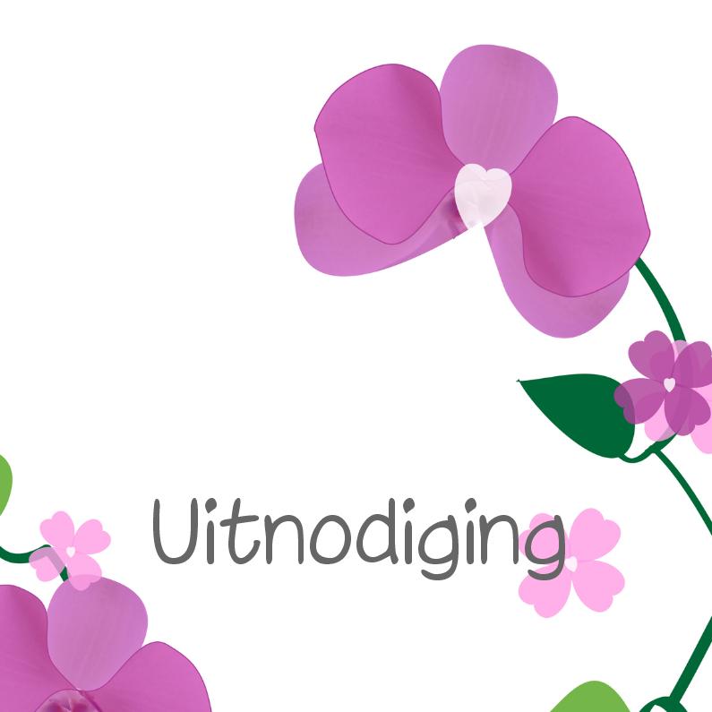 Uitnodigingen - Orchidee kaart  Optioneel met eigen foto