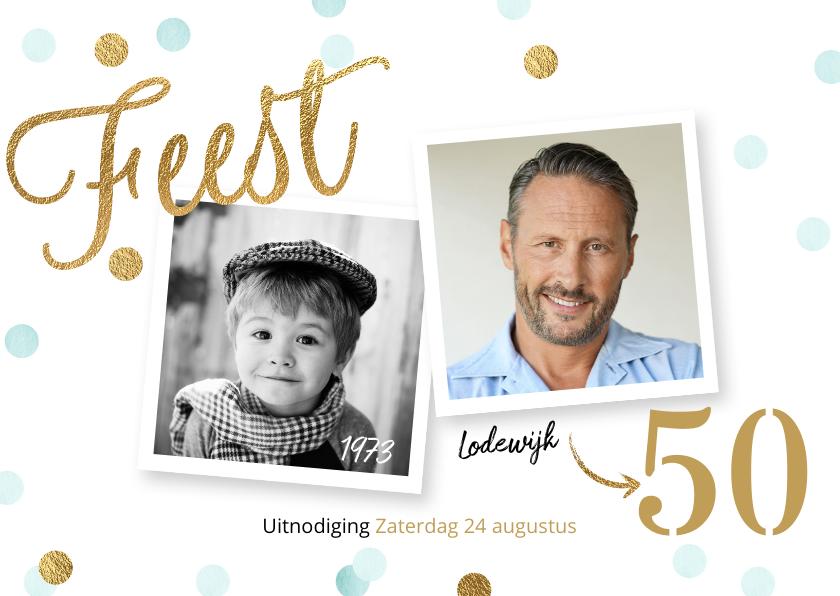 Uitnodigingen - Originele uitnodiging verjaardag 50 jaar confetti