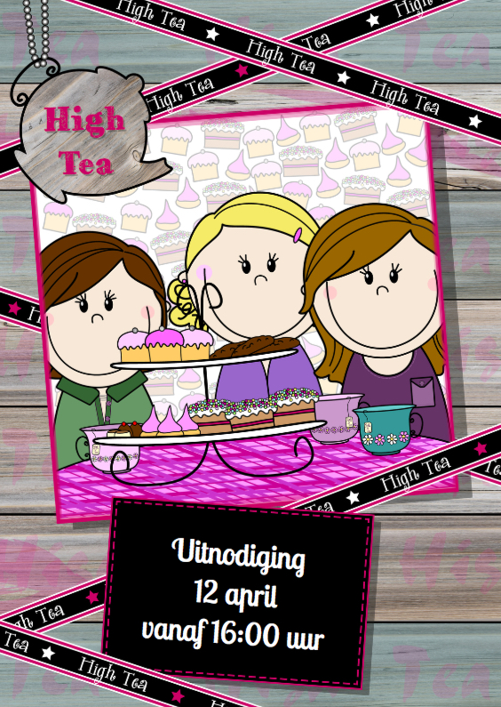 Uitnodigingen - PARTY GIRLS High Tea HOUT lint