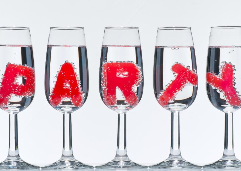 Uitnodigingen - PARTY in champagne glazen