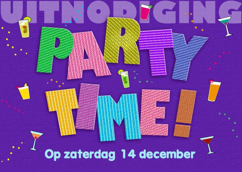 Uitnodigingen - PARTY TIME met letters Liggend