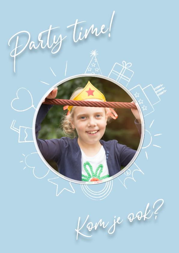 Uitnodigingen - Party time uitnodiging - blue
