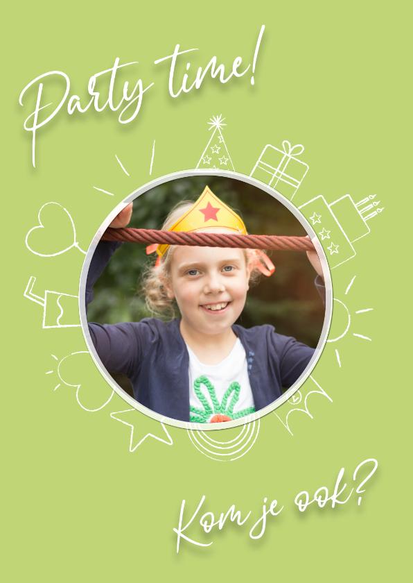 Uitnodigingen - Party time uitnodiging - green