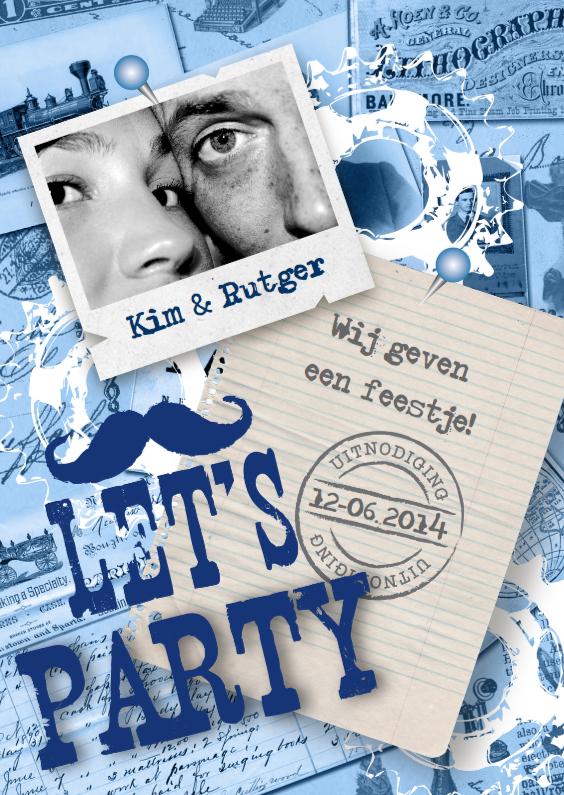 Uitnodigingen - Party Uitnodiging Vintage Blue