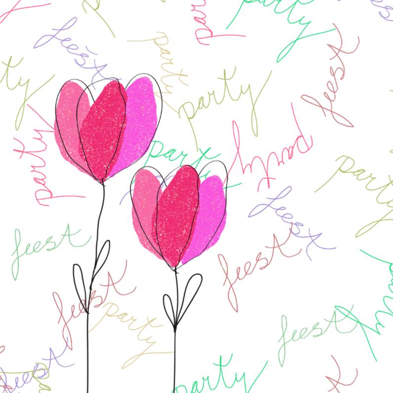Uitnodigingen - partymet getekende bloemen