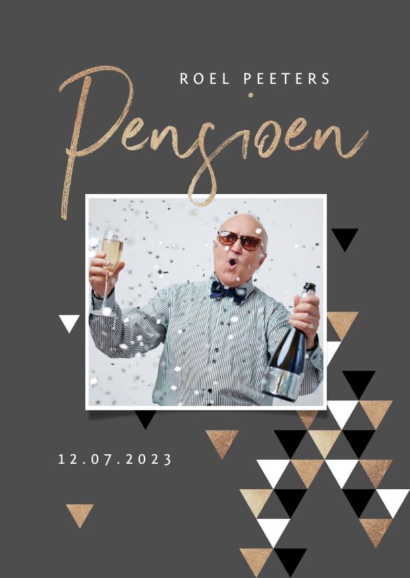 Uitnodigingen - Pensioen uitnodiging stijlvol modern grafisch goud foto
