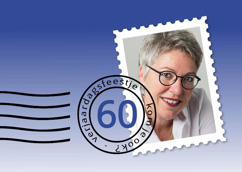 Uitnodigingen - postzegel verjaardagsfeest blauw