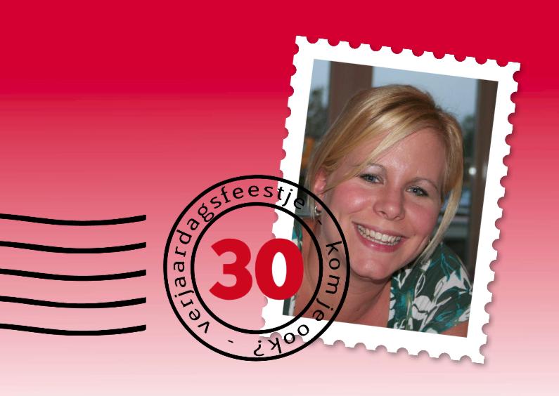 Uitnodigingen - postzegel verjaardagsfeest rood