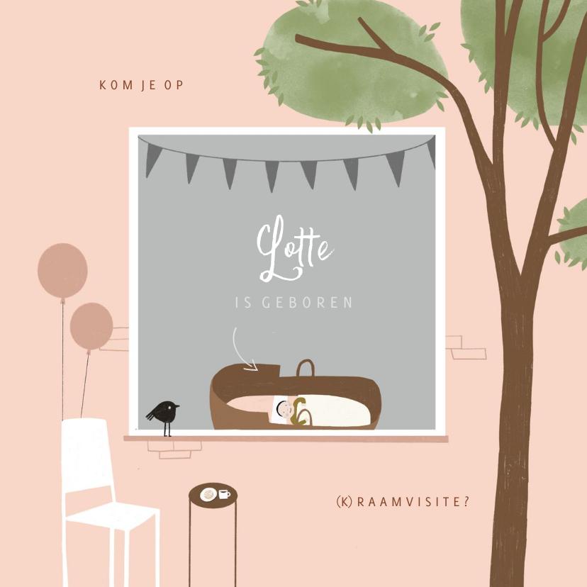 Uitnodigingen - Raamvisite uitnodiging meisje illustratie doorkijkje