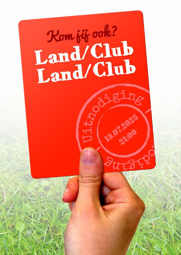 Uitnodigingen - Rode Kaart voetbal blanco - BK