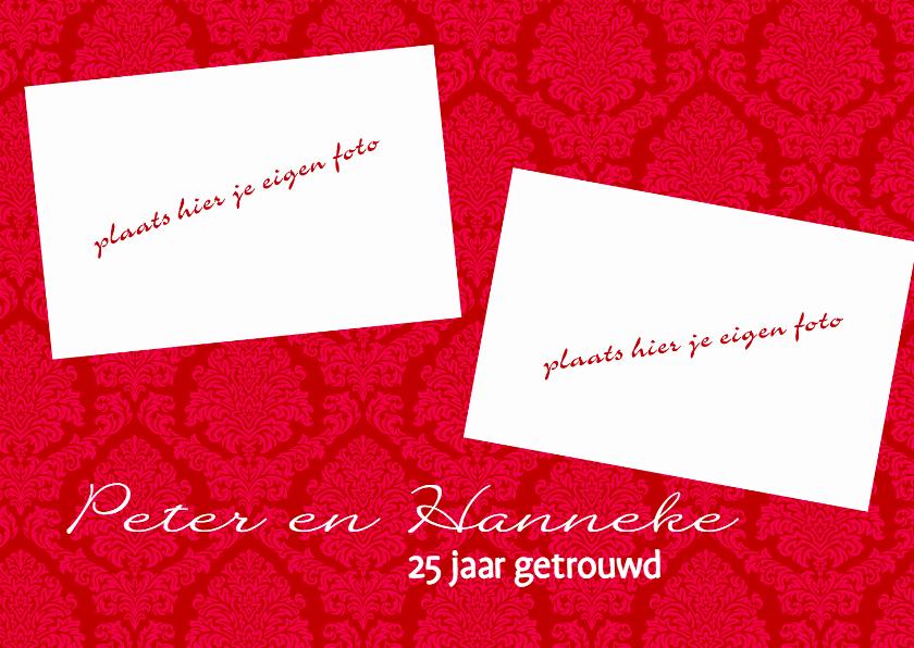 Uitnodigingen - Rode medaillon kaart met eigen foto