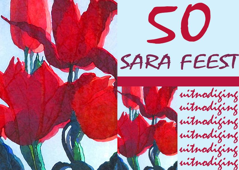 Uitnodigingen - Rode Tulpen Sara Feest