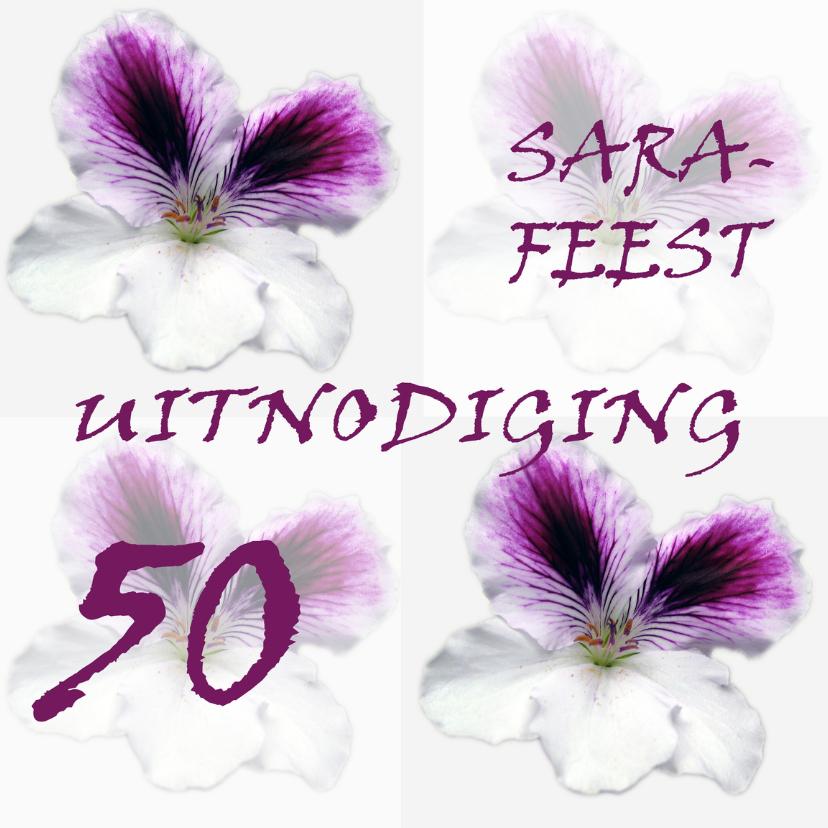 Uitnodigingen - Roze bloem 50 Sara