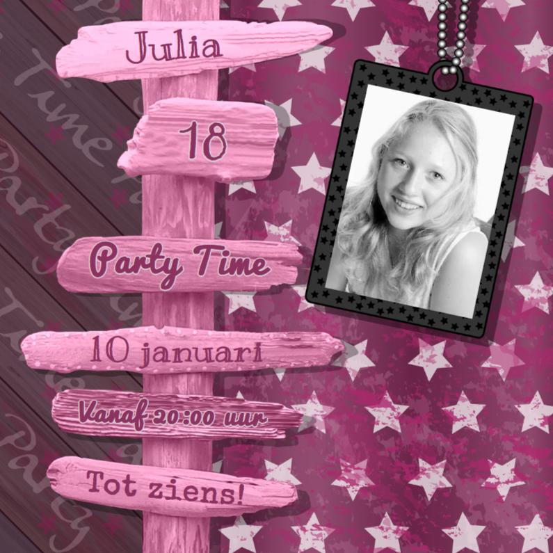 Uitnodigingen - Roze uitnodiging STER paal 4knt