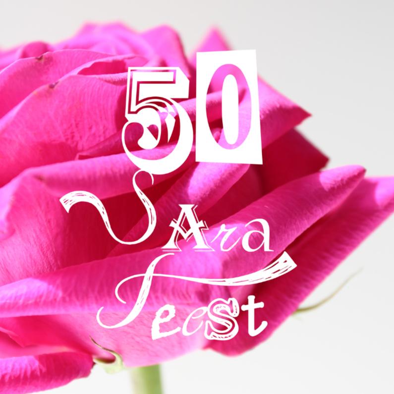 Uitnodigingen - Sara FEEST met Roze roos