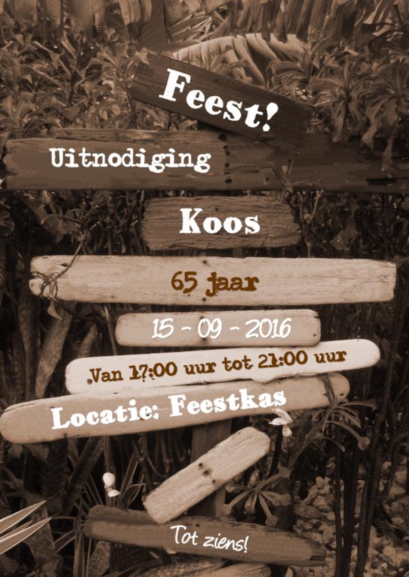 Uitnodigingen - Sepia Paal met drijfhout Bomen