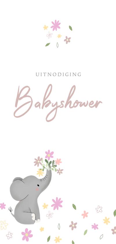 Uitnodigingen - Stijlvolle uitnodiging babyshower met olifantje & bloemetjes