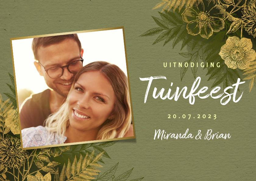 Uitnodigingen - Stijlvolle uitnodiging tuinfeest gouden plantjes en takjes
